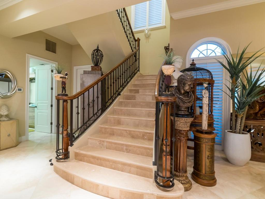 Staircase to second level - Single Family Home for sale at 640 Rountree Dr, Longboat Key, FL 34228 - MLS Number is A4169177