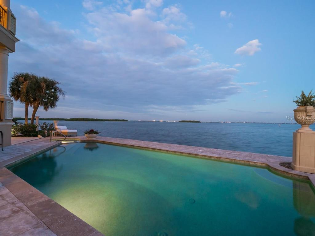 Bay views from lanai/swimming pool - Single Family Home for sale at 640 Rountree Dr, Longboat Key, FL 34228 - MLS Number is A4169177