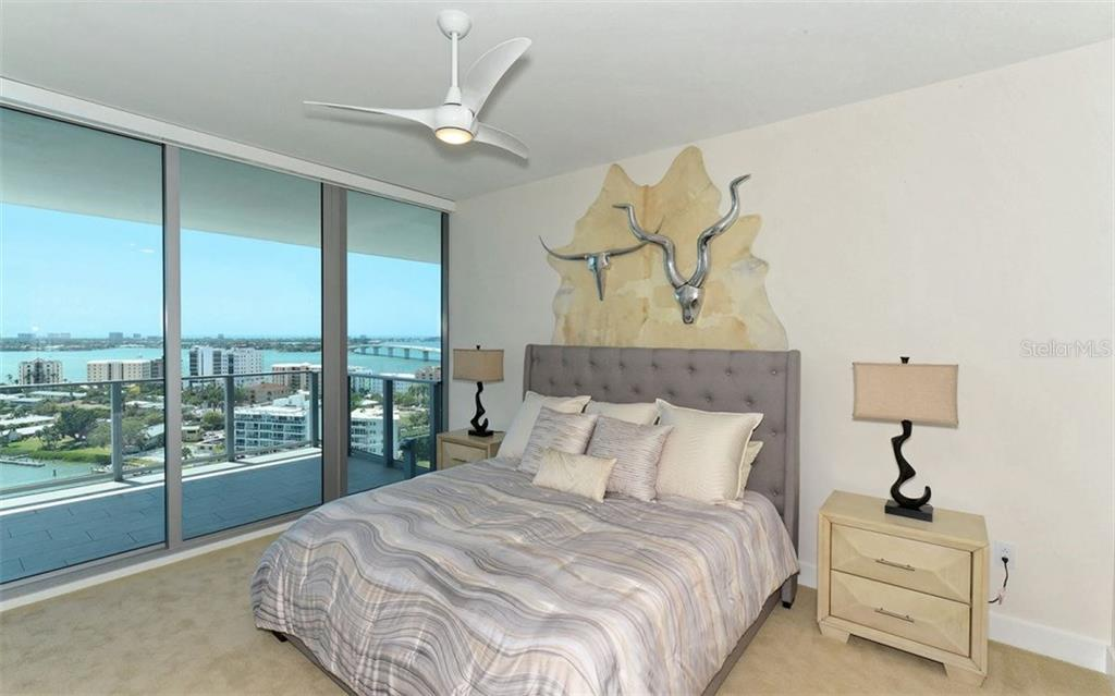 Master bedroom - wake up to a view that makes you want to get out of bed! - Condo for sale at 1155 N Gulfstream Ave #1504, Sarasota, FL 34236 - MLS Number is A4215032