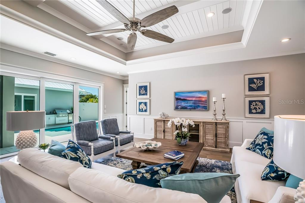 Grand Room Pool View - Single Family Home for sale at 601 Triton Bnd, Longboat Key, FL 34228 - MLS Number is A4215179