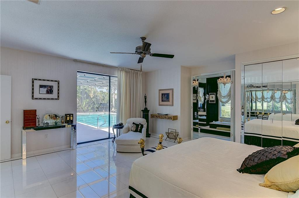 Master Bedroom Pool-view and Access - Single Family Home for sale at 3911 Spyglass Hill Rd, Sarasota, FL 34238 - MLS Number is A4404657