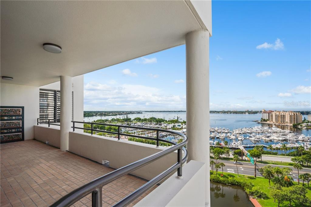 Expansive balconies. - Condo for sale at 1255 N Gulfstream Ave #1502, Sarasota, FL 34236 - MLS Number is A4413205