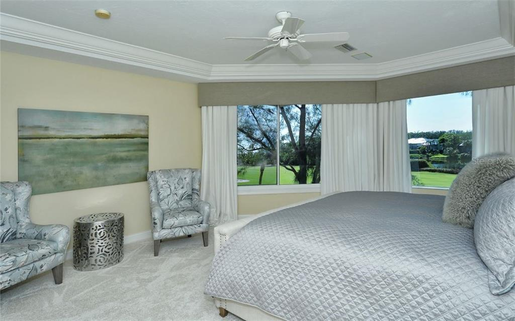 Another golf course view from the 3rd bedroom with new furniture - Single Family Home for sale at 3529 Fair Oaks Ln, Longboat Key, FL 34228 - MLS Number is A4414992