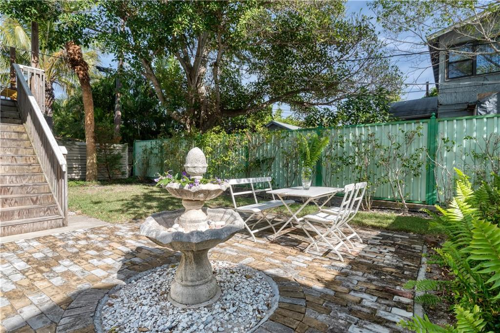 Paved patio with school house brick in back yard. - Single Family Home for sale at 147 Garfield Dr, Sarasota, FL 34236 - MLS Number is A4420375