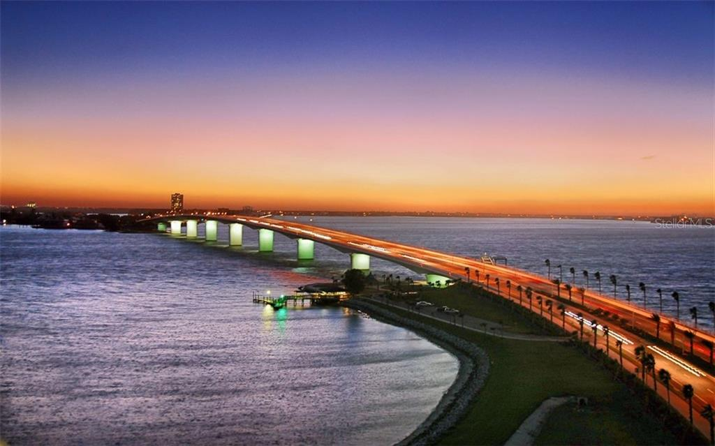 Enjoy a sunset stroll across the Ringling Bridge. - Condo for sale at 609 Golden Gate Pt #301, Sarasota, FL 34236 - MLS Number is A4422419
