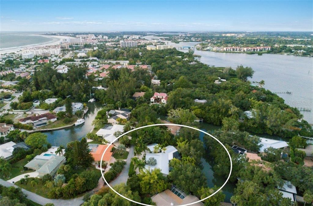 The Bay to the East and to the West: a short 1/3 mile walk to the Beach. - Single Family Home for sale at 6957 Belgrave Dr, Sarasota, FL 34242 - MLS Number is A4423362