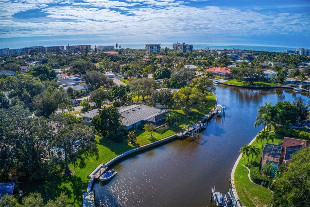 Aerial looking down canal - Single Family Home for sale at 5548 Shadow Lawn Dr, Sarasota, FL 34242 - MLS Number is A4423461