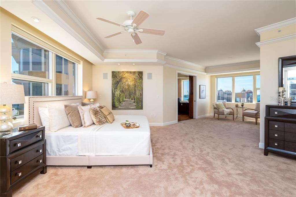Master Suite with a comfortable seating area to relish the views and formal office! - Condo for sale at 128 Golden Gate Pt #902a, Sarasota, FL 34236 - MLS Number is A4433296