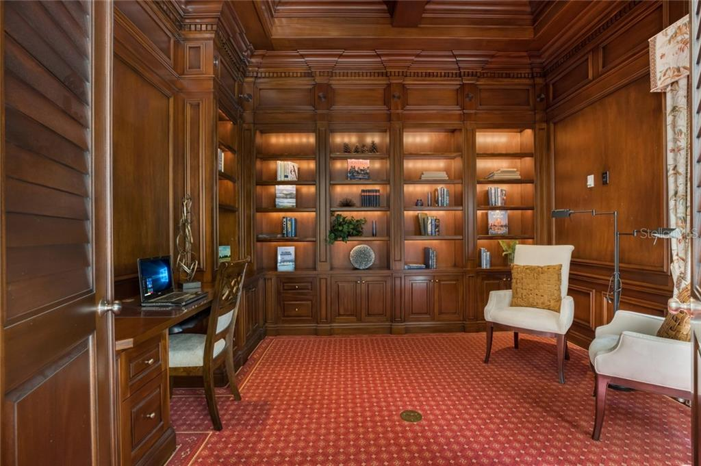 Study | Custom all mahogany paneled study located directly off of the living room features state of the art lighting design and function. - Single Family Home for sale at 1522 N Lake Shore Dr, Sarasota, FL 34231 - MLS Number is A4442286
