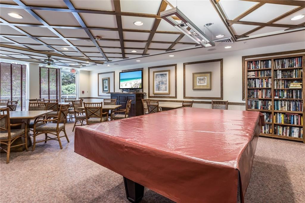 Billiard, card and community room. - Condo for sale at 1800 Benjamin Franklin Dr #b506, Sarasota, FL 34236 - MLS Number is A4451047