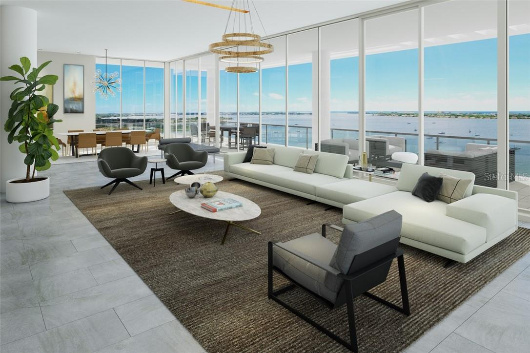 Calling all friends and family - the oversized living/dining rooms await; these views are phenomenal. - Condo for sale at 605 S Gulfstream Ave #15, Sarasota, FL 34236 - MLS Number is A4453705
