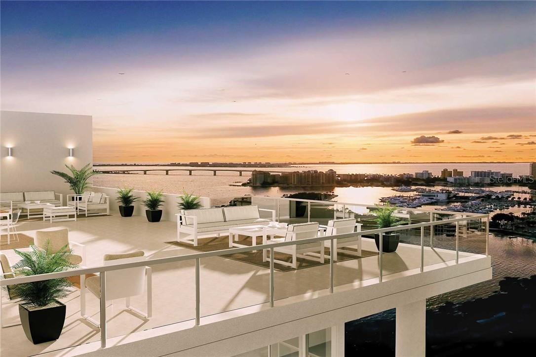 Sunsets and stargazing take center stage at EPOCH's dramatic Rooftop Terrace, high above the city - Condo for sale at 605 S Gulfstream Ave #15, Sarasota, FL 34236 - MLS Number is A4453705