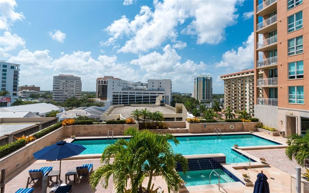 The pool deck is on the 6th floor - Condo for sale at 1350 Main St #701, Sarasota, FL 34236 - MLS Number is A4472236