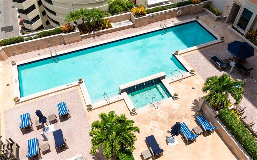 The large pool deck - Condo for sale at 1350 Main St #1001, Sarasota, FL 34236 - MLS Number is A4472708