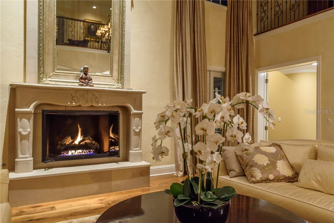 Ambiance is created in this dramatic two story living room via this lovingly restored natural gas fireplace with its glass doors, stone mantel and hearth. - Single Family Home for sale at 1807 Oleander St, Sarasota, FL 34239 - MLS Number is A4475067