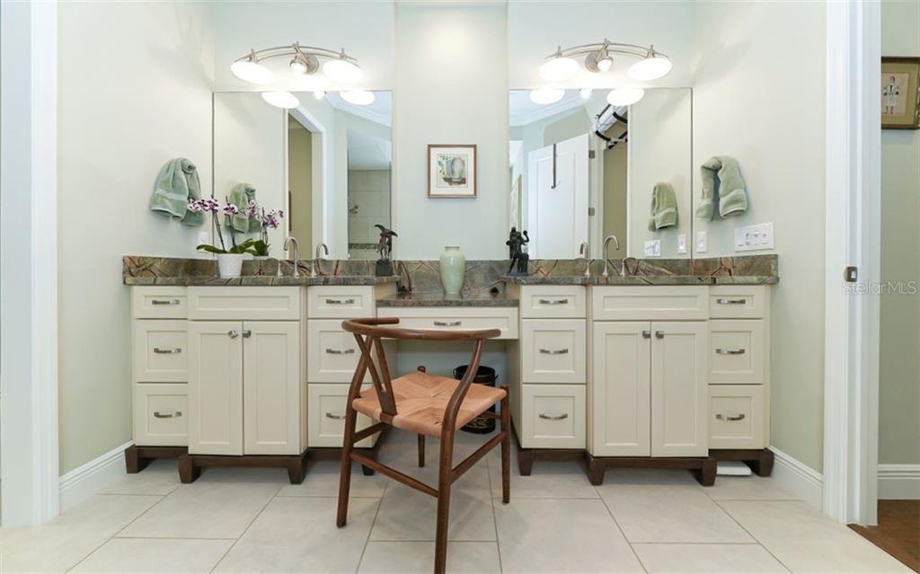 Twin sinks in the master bath - Single Family Home for sale at 3538 Trebor Ln, Sarasota, FL 34235 - MLS Number is A4475545
