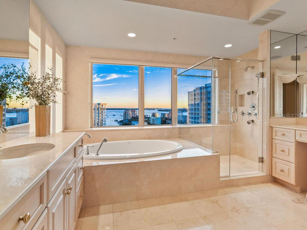 Enjoy a vistas of Golden Gate Point and the bay from the master bath. - Condo for sale at 1111 Ritz Carlton Dr #1506, Sarasota, FL 34236 - MLS Number is A4480943
