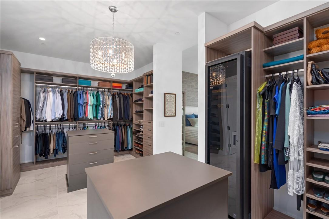 Custom Master Closet and Enclosed Smart Home Equipment Rack - Condo for sale at 1155 N Gulfstream Ave #1802, Sarasota, FL 34236 - MLS Number is A4485046