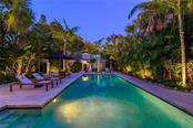 Salt Water Lap Pool & Gardens as they Light for the Evening. - Single Family Home for sale at 7340 Point Of Rocks Rd, Sarasota, FL 34242 - MLS Number is A4461841