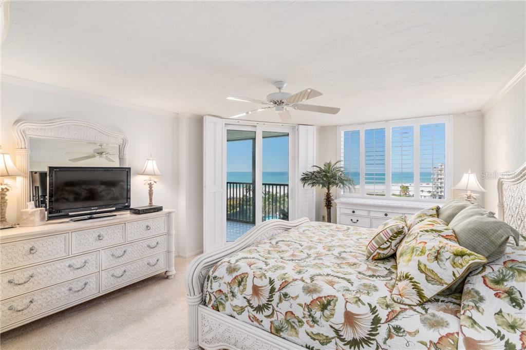 Master bedroom with plantation shutters and stunning gulf views - Condo for sale at 5880 Midnight Pass Rd #810, Sarasota, FL 34242 - MLS Number is A4208619