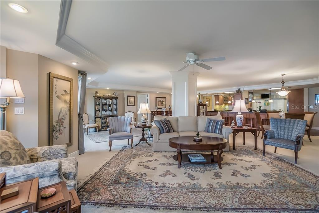 Open living area with plenty of room for entertaining. - Condo for sale at 20 Whispering Sands Dr #102 & 103, Sarasota, FL 34242 - MLS Number is A4441587